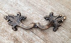 "Single, Large 6.75"" Wide, Ornate Victorian, Black and Gold Cast Iron Drawer Pull, Antique Vintage Inspired"
