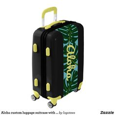 Aloha custom luggage suitcase with Monstera leafs