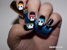 Check out these rad themed nail art that someone did! Seriously, so cool. The fact someone took the time to paint and design their nails with the boys on them is just so cool to me! Crazy Nail Art, Crazy Nails, 5 Seconds Of Summer, Cute Nails, Pretty Nails, 5sos Tumblr, Concert Makeup, 5sos Nails, 5sos Concert