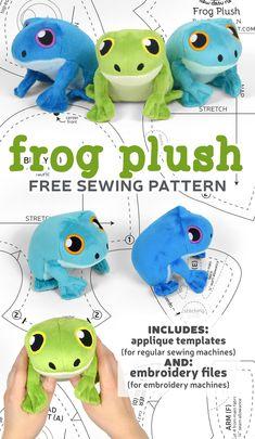 Free Pattern Friday! Frog Plush – Choly Knight Felt Crafts Patterns, Plushie Patterns, Animal Sewing Patterns, Sewing Patterns Free, Free Sewing, Sewing Toys, Crochet Patterns Amigurumi, Doll Patterns, Sewing Crafts