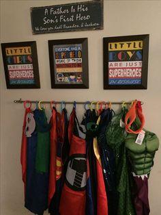 Dressing Up Storage Kids, Kids Storage, Capes For Kids, Diy For Kids, Man Room, Room Boys, Little Boy Costumes, Dress Up Storage, Superhero Room