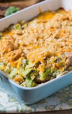 Broccoli Casserole with a cheesy Ritz cracker topping. We look forward to this casserole every Thanksgiving.