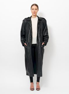 354acde72f '80s Gianni Versace Leather Coat Long Leather Coat, Black Leather, Gianni  Versace,