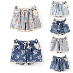 Summer Style 2016 Women Casual Denim Shorts  With Elastic High Waist Floral Star…
