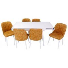 Set masa living Vegas Alba cu scaune galbene Vegas, Dining Chairs, Doors, Interior, Table, Furniture, Home Decor, Decoration Home, Indoor