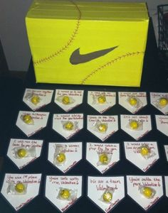 Dawsyn's softball Valentine's box with home plate cards and softball bubble gum! :)