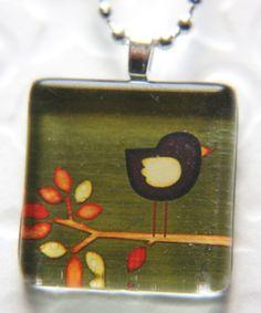 brown bird on a limb glass tile pendant