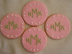 Monogram Cookies Customized with Your Initials and by SugarFairies, $30.00