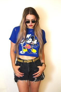 3e3f5c1cb851e Vintage Mickey Mouse Destroyed Crop Top Vintage Mickey Mouse