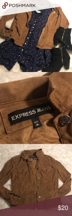 Express Faux Suede Tan Button Up Jacket Sz M Excellent condition!   Express Faux Suede Jacket  • Size Medium  • Two Side Pockets  • Button Up   Dress in styling pictures also available for sale! Check out my closet for the listing!   Have questions❓Comment below❗️ Express Jackets & Coats Utility Jackets
