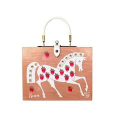 Enid Collins of Texas 1965 (Strawberry) Roan box bag. Strawberry Roan horses are light in color because of an even mixture of white and reddish-brown colored hairs. Love the strawberries on white to describe this! #findingENIDwithLOVE #enidcollinsoftexas #enidcollins #fashiondesigner #vintagestyle #vintagepurse #vintagebag #1965 #strawberry #roan #strawberryroan #horse  #equestrian #art #anthropology
