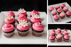 pink flower mini Cupcakes | Dainty Desserts Mini Cupcakes, Cupcake Cakes, Lemon Velvet Cake, Cake Icing, Chocolate Chip Cookie Dough, Edible Art, Sweet Stuff, Crockpot Recipes, Pink Flowers