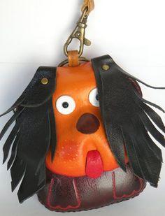Leather checkbook holder Frandi orange nubuck.