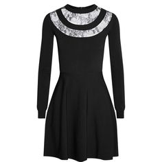 Valentino Lace-paneled stretch-knit mini dress (510 JOD) ❤ liked on Polyvore featuring dresses, black, short loose dresses, loose mini dress, short dresses, stretch knit dress and lace insert dress