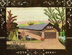 The Old Hoosick Bridge 1818   Embroidery by Grandma Moses
