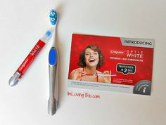 Colgate Optic White Toothbrush + Whitening Pen - Loving this! So easy, affordable, and it actually works! http://imlovingthis.com/colgate-optic-white-toothbrush-whitening-pen-review/