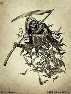 Grim reaper with bats_The grim reaper likes animals_The grim reaper can transform into any animal or anything in the world also other. Grim Reaper Art, Grim Reaper Tattoo, Don't Fear The Reaper, Skull Tattoos, Animal Tattoos, Body Art Tattoos, Sleeve Tattoos, Dark Fantasy Art, Dark Art