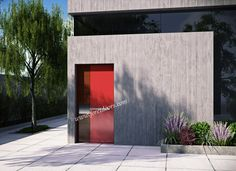 Modern door with stainless steel insert and pull