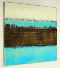 CHRISTIAN HETZEL, 110 x 110 cm, acrylic. Those shots of almost iridescent blue just glow against the rich brown - lovely!