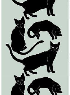 Cats in Art and Illustration: Siniverinen, Design Erja Hirvi for Marimekko Crazy Cat Lady, Crazy Cats, Textile Patterns, Textile Design, Black Cat Art, Black Cats, Marimekko Fabric, Cat Fabric, Cool Cats
