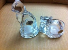 Full Lead Crystal Cat Salt and Pepper Shakers