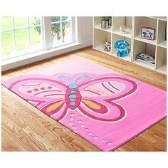 Tapete rosa de borboleta para o quarto.