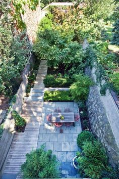 city garden in Brooklyn, making the most of the space with living & garden areas, walled for privacy