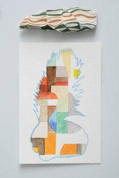 Sarah Hillary, Chroma from Double Happy, 2013, Gouache and watercolour on driftwood and paper, 475 x 405mm (framed dimensions)