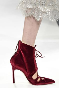 These burgundy velvet cut out booties were a standout on the Jonathan Simkhai runway for Fall 2017.