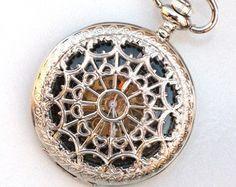 Steampunk Pocket Watch - WEB OF LOVE -  Silver - Necklace - Mechanical - Black Face - Neo Victorian - GlazedBlackCherry