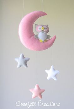 READY TO SHIP Baby mobile Owl mobile Crib por LoveFeltXoXo