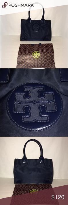 "Excellent Condition Tory Burch Mini Ella Navy ❣I sell on multiple sites...this won't last long❣  Great Condition - rarely used   - VERY minor marks on patent leather corners & bottom.  - Some soil inside - nothing major.  - Handle seams began to peel (common w/ this style). They were repaired (not replaced) so white doesn't show. See photos.  13""W x 5""D x 9""H; 6.5"" handle drop Tory Burch Bags Totes"