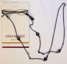 Corinne McCormack Heart Lock Key Dark Silver Eyeglass Retainer Holder Chain