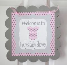 12 Baby Shower Pink & Grey Polka Dot Argyle by DreamPartyPaperie, $12.00