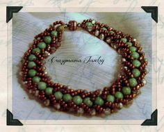 turquoise beads, copper seed beads, ab crystals, coppr magnetic clasp $30.00 OAK