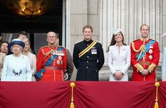 (L-R) Queen Elizabeth II, Prince Philip, Duke of Edinburgh, Prince Harry, Catherine, Duchess of Cambridge and Prince William, Duke of Cambridge on the balcony during Trooping the Colour - Queen Elizabeth II's Birthday Parade, at The Royal Horseguards on June 14, 2014 in London, England.