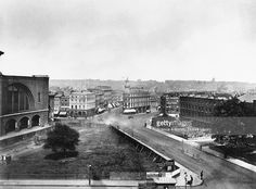 View of King's Cross Station, London, c The area in front of the station is boarded off, and Euston Road is empty of traffic. A sign in the foreground indicates the way to the station. Get premium, high resolution news photos at Getty Images Camden London, Camden Town, Old London, Victorian London, Vintage London, Old Pictures, Old Photos, London Pictures, Vintage Photos