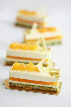 pistachio apricot dacquoise, apricot gelee, honey vanilla bean mousse. would love to find a recipe!