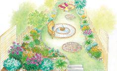 Ein schlauchförmiger Reihenhausgarten soll neu gestaltet werden. Zu diesem Zweck liefern wir zwei Gestaltungsideen: Eine Idee mit geschwungenen Linien und Formen im Gartenbild und eine Idee mit einer Unterteilung des Reihenhausgartens in kleine abwechslungsreiche Gartenzimmer. (Pflanzplan als PDF zum Herunterladen und Ausdrucken)