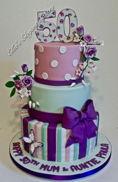 Dots stripes and much more by Ellie @ Ellie's Elegant Cakery Adult Birthday Cakes, 50th Birthday, Birthday Celebration, Birthday Ideas, Cupcakes, Cake Cookies, Cupcake Cakes, Beautiful Cakes, Amazing Cakes