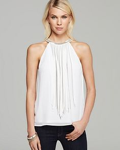 GUESS Top - Fringe Chain | Bloomingdale's
