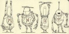 Robot alphabetics M to P - Mattias Inks