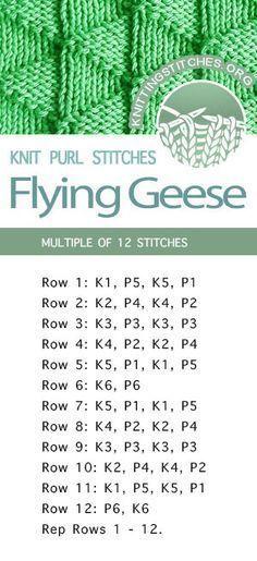 #KnittingStitches -- Flying Geese Stitch Pattern. Free Knitting Stitches - FREE ...