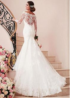 Buy discount Delicate Tulle Off-the-shoulder Neckline Mermaid Wedding Dresses With Lace Appliques at Dressilyme.com