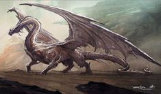 Bending my 'no movie art' rule, because this is concept art and very different from the final film. This Smaug is so much better than the final film version!