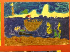 First Grade Artist watercolor resist drawing