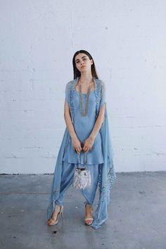 Buy Blue Color Dhoti Dress by Akanksha Singh at Fresh Look Fashion Indian Attire, Indian Wear, Indian Outfits, Kurti Designs Party Wear, Kurta Designs, Heavy Dresses, Simple Dresses, Look Fashion, Indian Fashion
