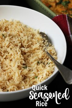 There's no need for fancy sides when you can make seasoned rice. This Quick Seasoned Rice comes together with just a handful of ingredients, making for a super simple side dish any night of the week. Seasoned Rice Recipes, White Rice Recipes, Rice Side Dishes, Side Dishes Easy, Cooking For A Crowd, Cooking On A Budget, Instant Rice, Instant Pot, Veggie Rice Bowl
