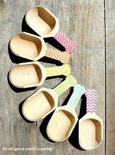 Small Chevron Wooden Candy Scoops GIRLS by thebakersconfections, $24.00