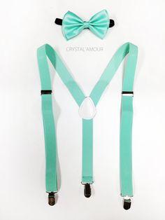mint green suspenders - mint green suspenders- for children, teens and adults, mint green wedding, mint green dress suspenders Green Tux, Green Bow Tie, Mint Green Dress, Mint Blue, Dama Dresses, Quince Dresses, Quinceanera Dresses, Dress Wedding, Groomsmen